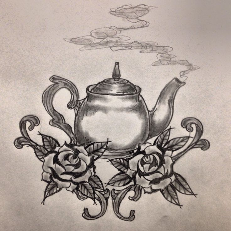 Traditional teapot / roses tattoo sketch by - Ranz