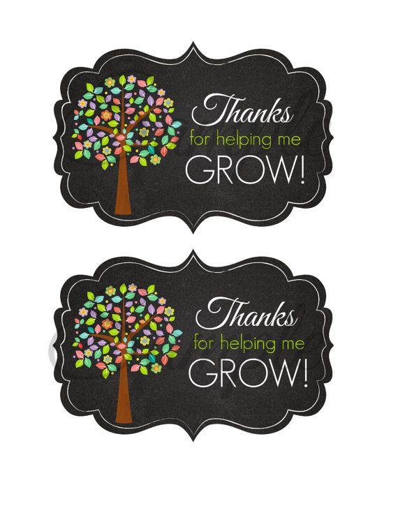 INSTANT Download Thanks for Helping me grow TEACHER Appreciation School Card gift  Printable Download - Fun Family Party diy