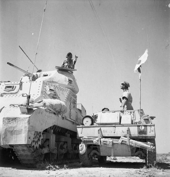 Grant HQ tank and Daimler scout car, Libya, June 1942.