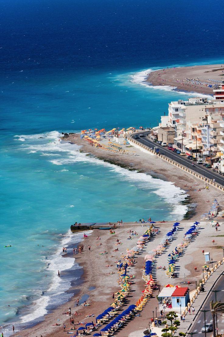 Panorama view of Rhodes town beach, Rhodes Island, Greece