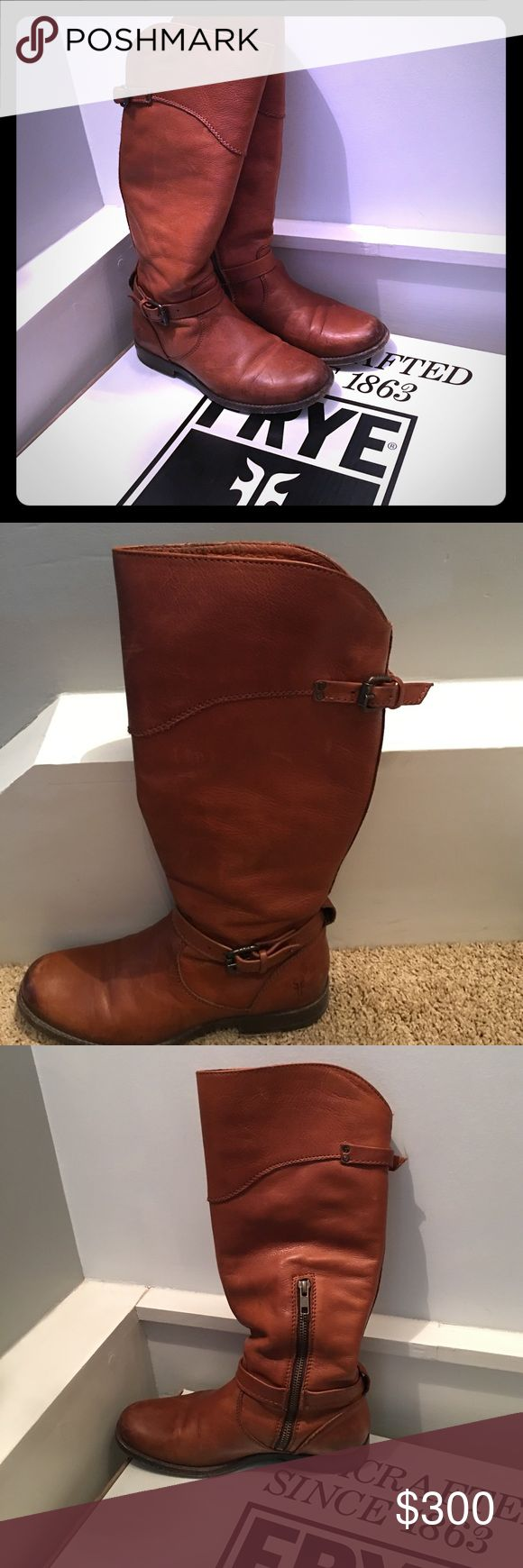 Leather Frye riding boots Purchased about 3 months ago and only worn a few times! These are whiskey colored 7.5 M leather riding boots. Will be shipped in original box! Frye Shoes Winter & Rain Boots