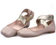 Женщины натуральная кожа обувь винтажный балет обувь лежа каблуке комфорт крестики ремень женщины квартиры обнажённый розовый обувь zapatos mujer(China (Mainland))