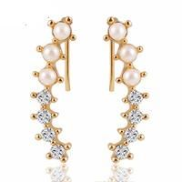 Pearl Crystal 6 Beads Earrings - undefined - By sexybling.com