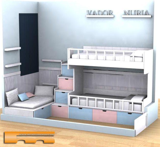 144 mejores im genes sobre habitaciones infantiles en - Habitacion 3 ninos ...