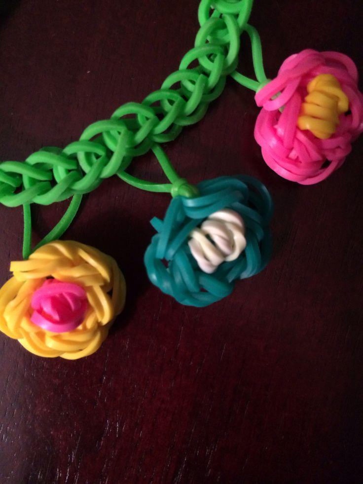 Rainbow Loom Flower Charms On A Simple Loom Bracelet