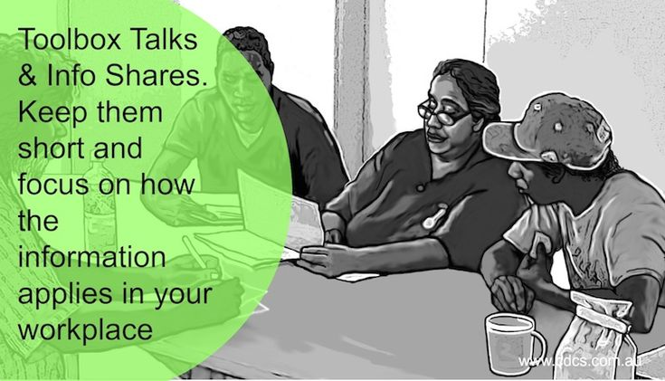 Toolbox Talks and Info Shares are great ways to share relevant workplace related information in bite sized chunks.