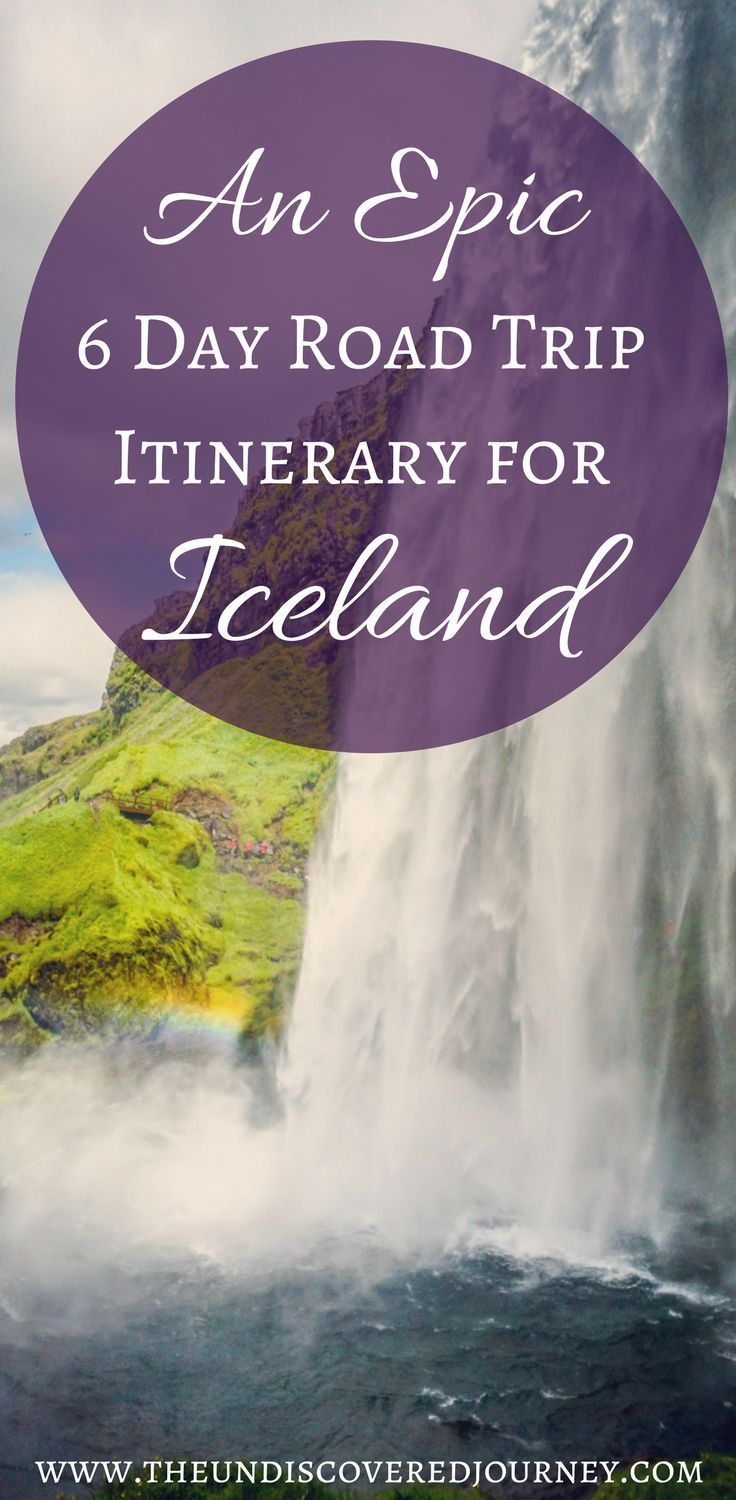 Iceland is an absolutely magnificent spot to vacation and explore. We went on a 6 day vacation in Iceland and got to see SO MUCH! Come check out our 6 day Road Trip Itinerary in Iceland including The Blue Lagoon, beautiful waterfalls in Iceland, glaciers in Iceland, and rolling hills in Iceland. You will be ready to book a trip RIGHT NOW! Make sure you save this to your travel board to help you plan your Iceland trip.