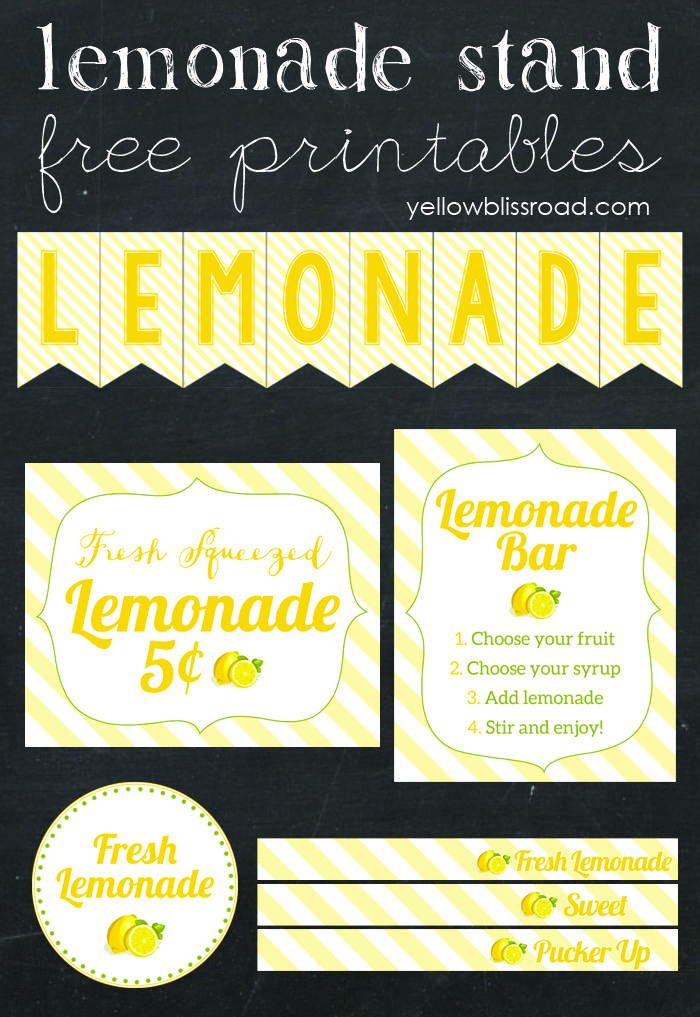 Create a fabulous lemonade stand of flavored lemonade bar with these adorable free printables!