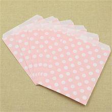 Bolsa de botín 25 unids/pack pink polka dot bolsa de papel sin asa irregular partido favor de la boda caramelo bolsas de regalo de Envasado de alimentos(China (Mainland))