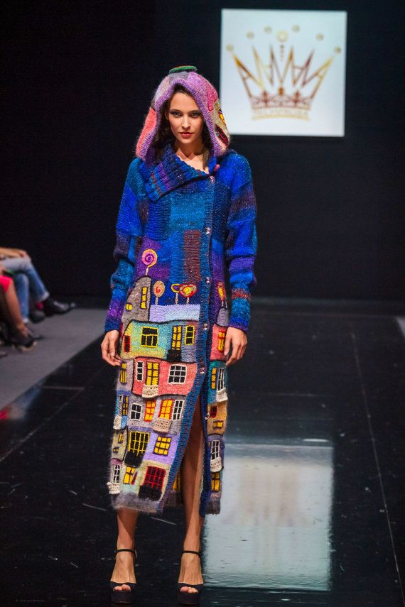 Knitted coat handmade EVENING HUNDERTWASSER