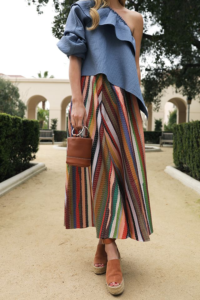 db1cfaee513 A rainbow skirt and bucket bag    Click through to see this full outfit on  Atlantic-Pacific