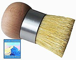 NEW DESIGN by Chalk Mountain Brushes - LARGE Palm Wax, upholstery &/or Stencil Boar Hair Bristle Brush. Designed for maximum comfort; Perfect for Arthritic Hands.  Now available on Amazon Prime!