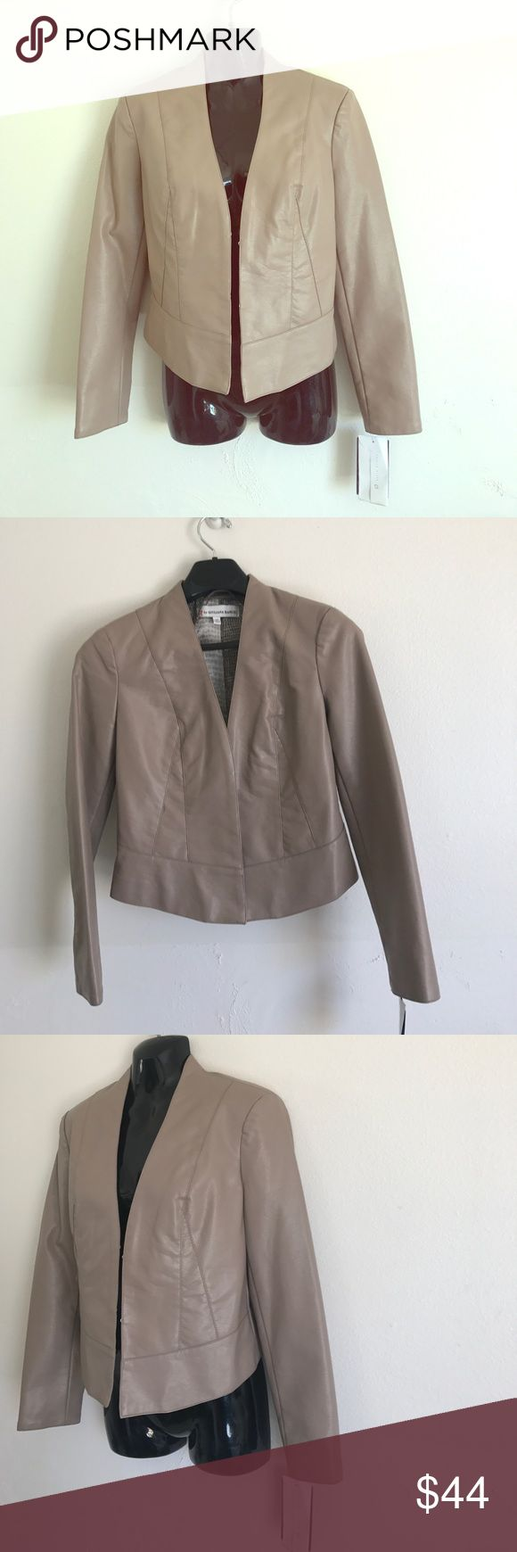 G By Giuliana Rancic Faux Leather Taupe Jacket XS Length Is 20 Inches From  Top Of Jacket In The Front. NWT! G By Giuliana Rancic. Color Is Beige Or  Taupe.