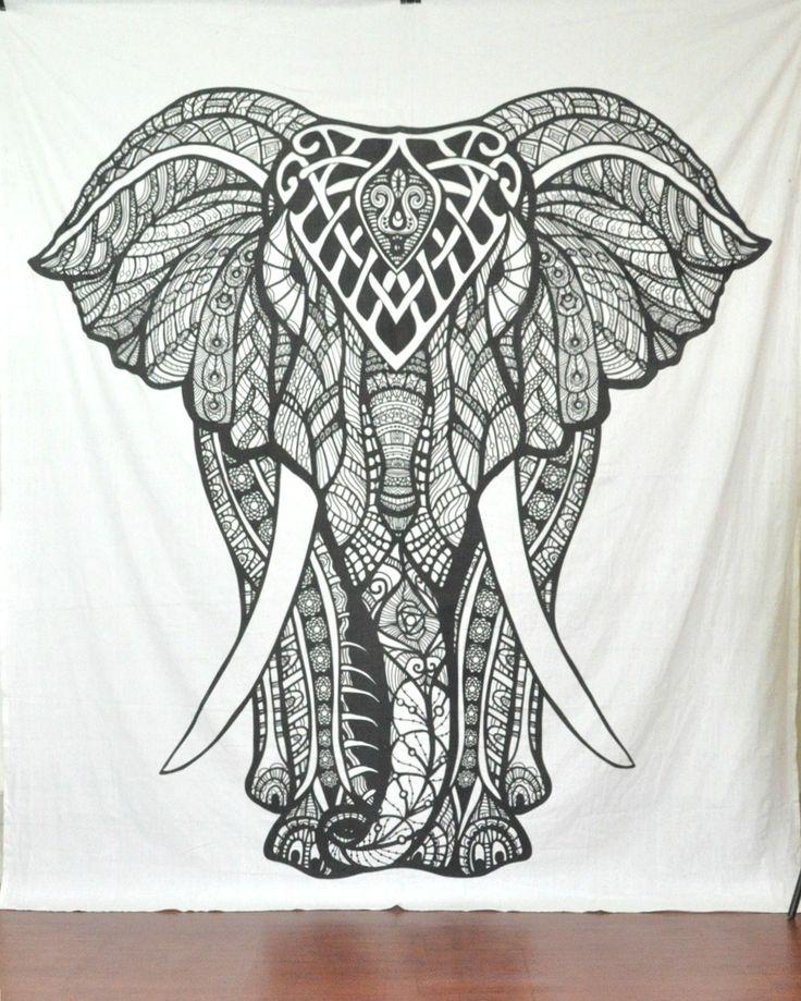 Handicrunch Indian Elephant Tapestry Hippie Tapestries