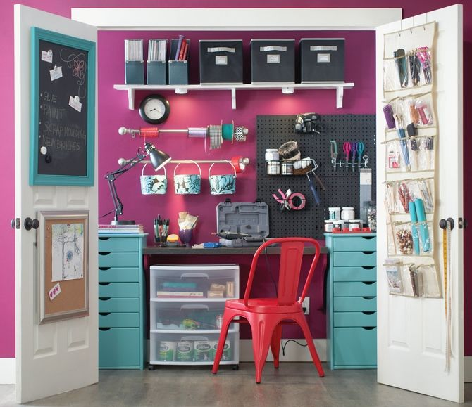 If you happen to have a smaller space, biggest trick is making sure you put your space to good use.  Think vertically and maximize your walls. We love pegboard and its a go-to staple for a designer creating a home office, garage, kitchen or craft space. Not only versatile but able to be customized with paint, hooks - endless options. Pegboard works in every room of your house.
