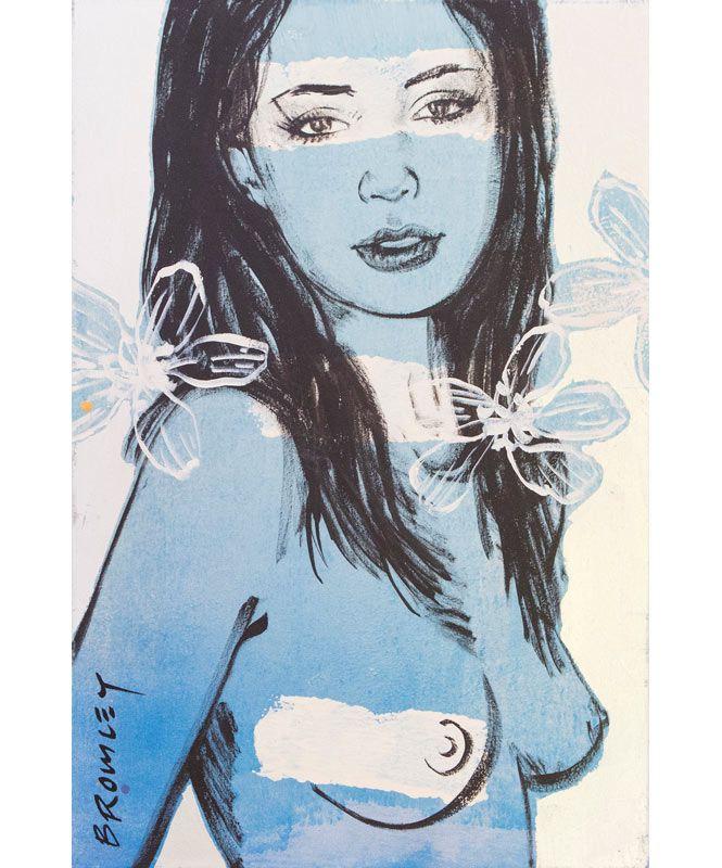Portrait Art - David Bromley - Mallory, blue silver