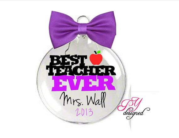 Christmas Ornament for Teacher Personalized Best Teacher Ever Ornament with Name and Date
