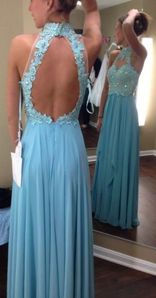 lace open back prom dress,blue prom dress, backless evening dress