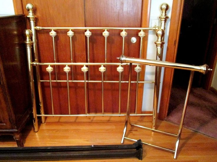 in Antiques, Furniture, Beds & Bedroom SetsVintage, 5 piece full size bed frame & quilt rack.  Victorian, gold brass head & foot board w/floral painted porcelain decorations at tops of vertical rails, rounded tip leg posts, metal frame bed rails & a matching brass quilt rack.  All screws & washers are in tact.