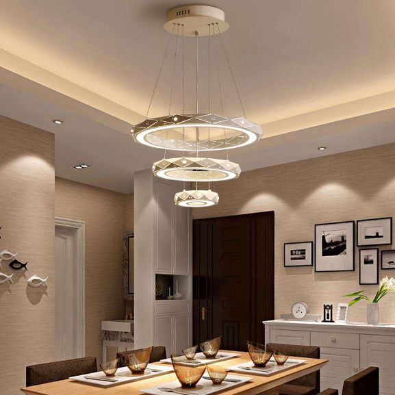 Modern Style Led 4 Tier Circles Suspension Chandelier For Dining