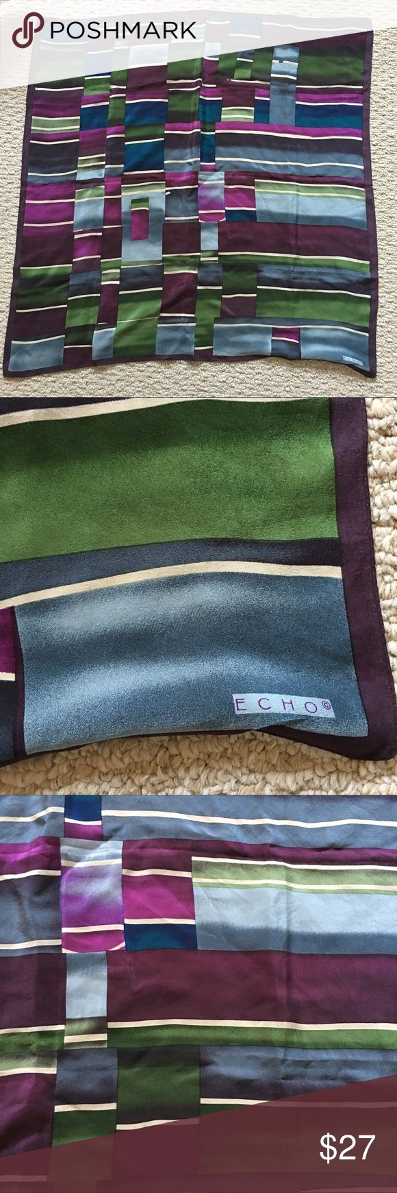 Silk Echo scarf Gorgeous silk scarf in jewel tones. Very good used condition. Approximately 29 in x 29 in. Echo Accessories Scarves & Wraps