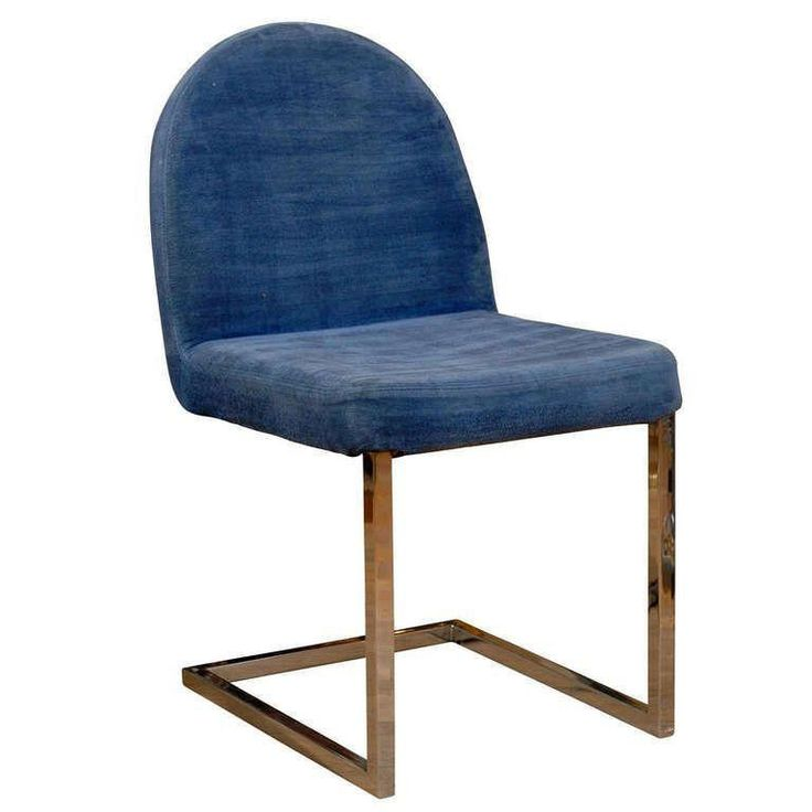 Italian Mid-Century Modern Desk Chair - $550 on Chairish.com. love the chrome base and soft blue upholstery