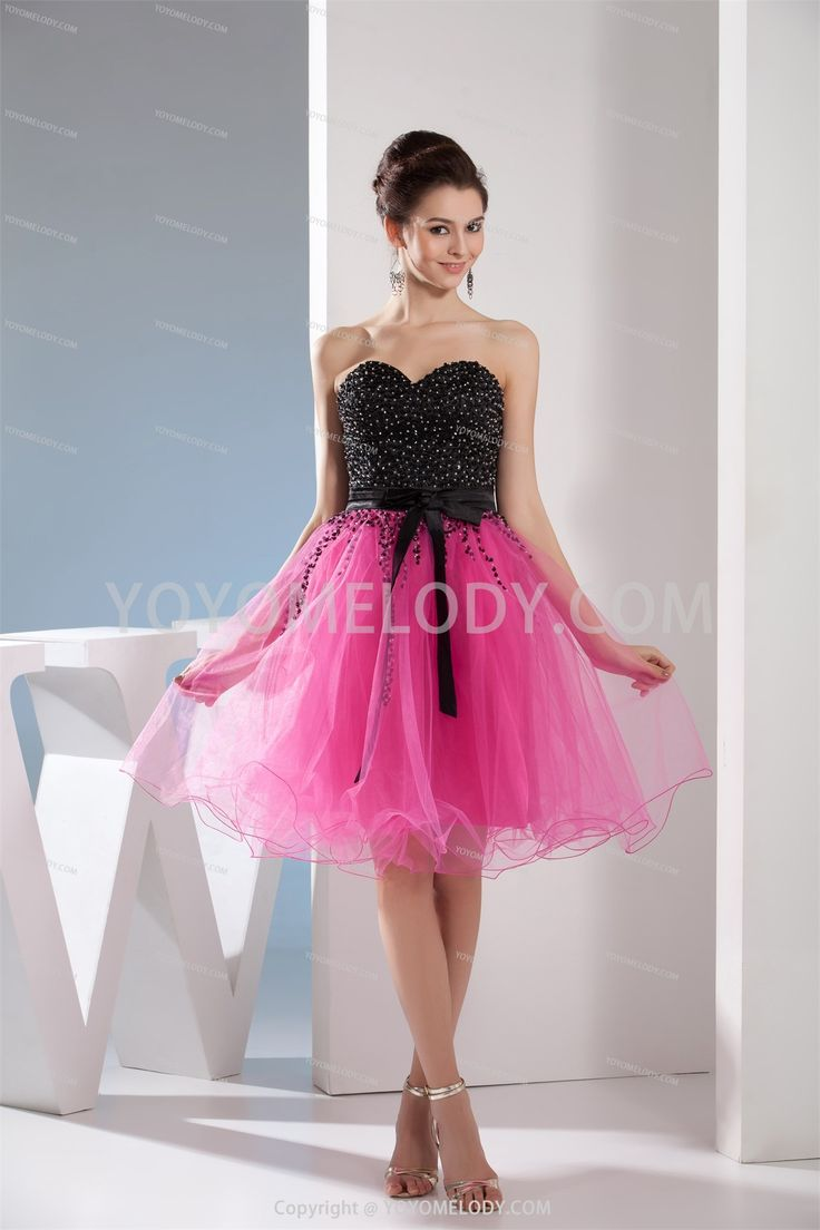Chic&Modern Pink Silk Like Satin Knee Length A Line Homecoming Dress SD0801677