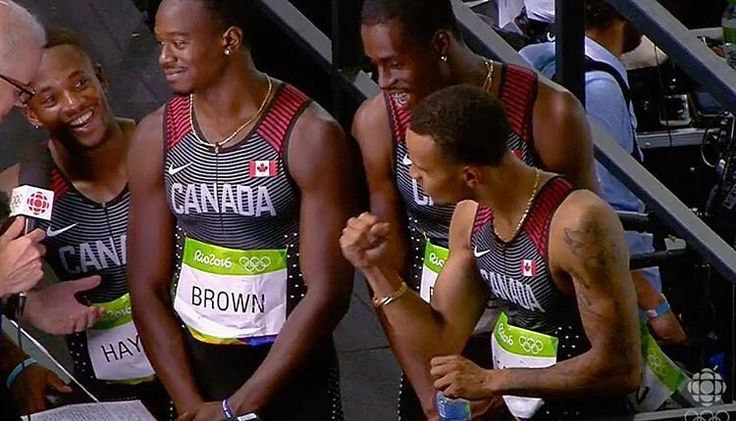 Congratulations to #jamaica but HELL YEAH #Canada is the future of the sport! @Regrann from @athleticscanada -  This is the exact moment the relay team looked up at the board and realized they won Olympic Bronze. New Canadian Record of 37.64. 6th for the  athletics team with more finals to come. Oh yeah and @de6rasse has 3 Olympic medals now at 21-years old. #Regrann #rio #4x100 #
