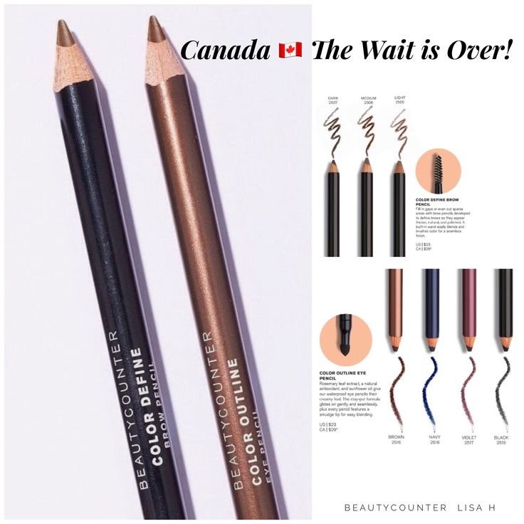 Guess what's arriving Canada? Eye and Brow Pencils! These smooth gliding pencils are often sold out in the USA, so if you want to add a high performing and significantly safer pencil to your makeup bag don't hesitate!! Color Define Brow Pencil and Color Define Eye Pencil $29 CAD. #EyeBrows #EyePencils #SafetyWithoutCompromise