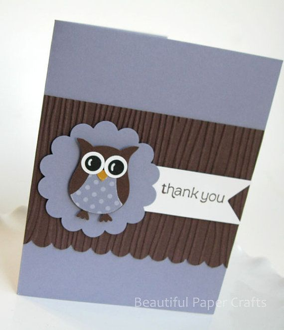 Handmade owl thank you cards in Wisteria (Lavender) & Chocolate Brown. Listing is for a set of 10 thank you cards with white envelopes.