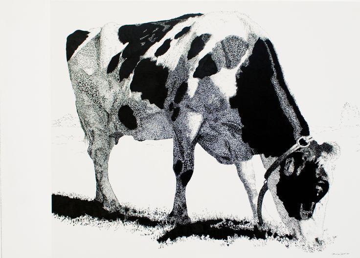 """Hanna"", acryl ""pixel"", leinwand 100X120                                               bernhard kaeser 2014 Acryl auf Leinwand , Kunst, malerei, Leinwand, painting, Cow, Kuh, Animal"