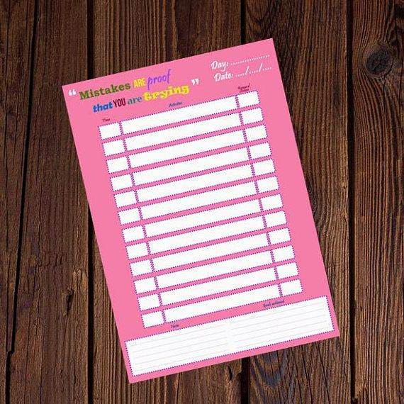 A4 Printable Daily Planner Pages Daily Schedule To Do List #planner #organiser #kids