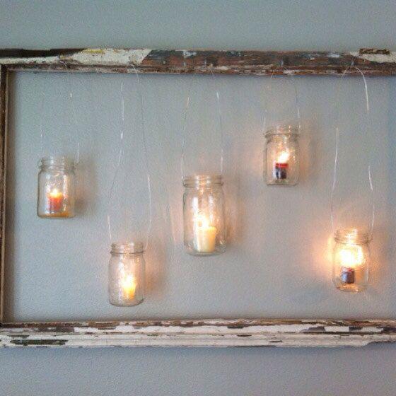 Antiqued wooden frame with hanging mason jar votives on Etsy, $40.00