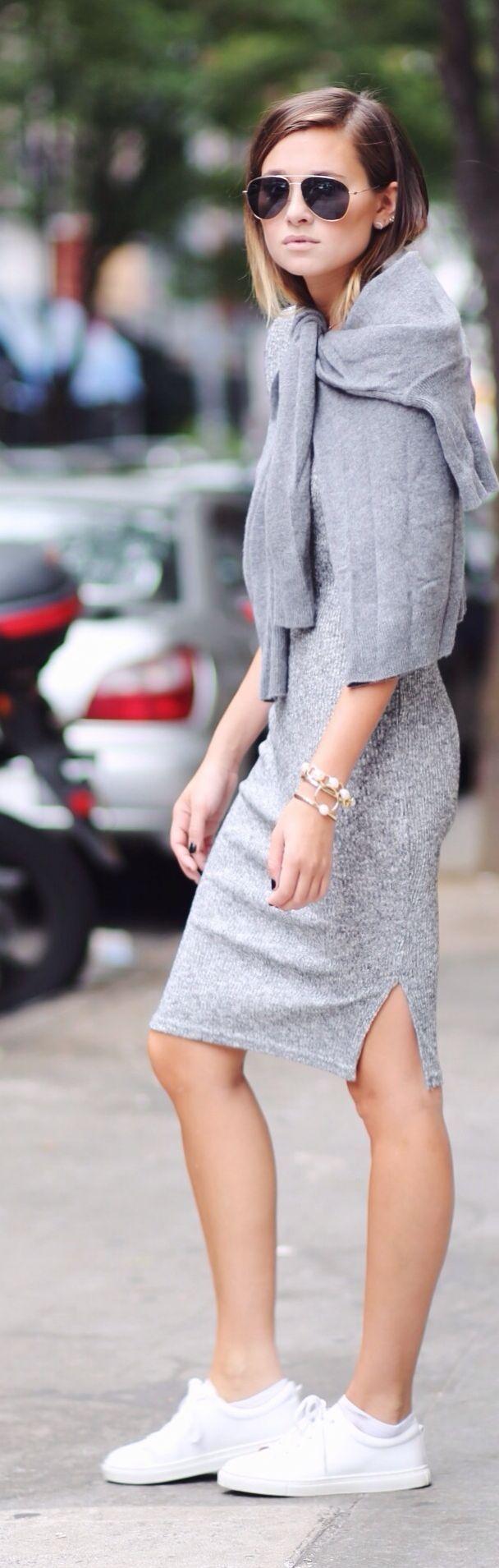 Grey Bodycon Midi Dress minimal street fashion grey with sporty sneakers