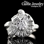 Free Form Antique Design Round Diamond Baguette Accent 14 K White Gold Ring