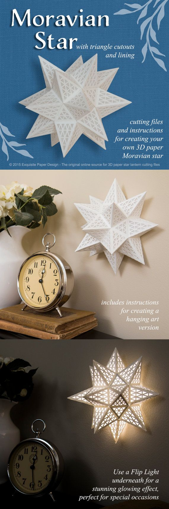 Cutting Files - Moravian Paper Star w Triangle Cutouts by ExquisitePaperDesign