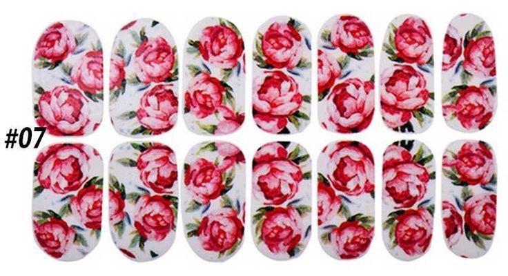 1 stücke Bunte Blumen Glitter Nagelkunst Aufkleber Volldeckung-nagel Wraps DIY Schönheit Salon Nagel Aufkleber Dekoration Werkzeuge