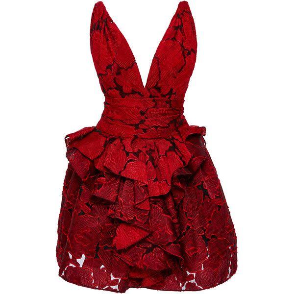 Marchesa Textured Rose Brocade Dress (442165 RSD) found on Polyvore featuring women's fashion, dresses, gown, red, vestidos, ruffle dress, asymmetrical dress, peplum cocktail dress, peplum mini dress and red sleeveless dress