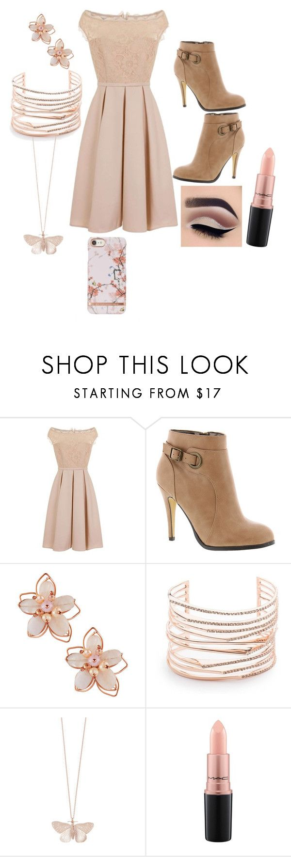 """Untitled #54"" by mini-lucifer ❤ liked on Polyvore featuring Little Mistress, Michael Antonio, NAKAMOL, Alexis Bittar, Alex Monroe and MAC Cosmetics"