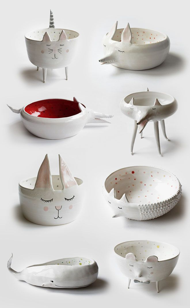 Ceramic animal bowls, cat bowls