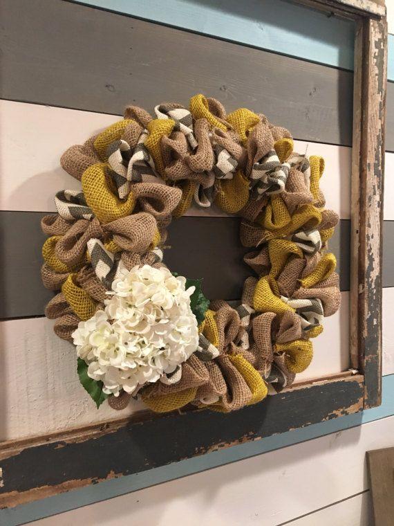 Burlap wreath Chevron Burlap Wreath Chevron Burlap Mustard