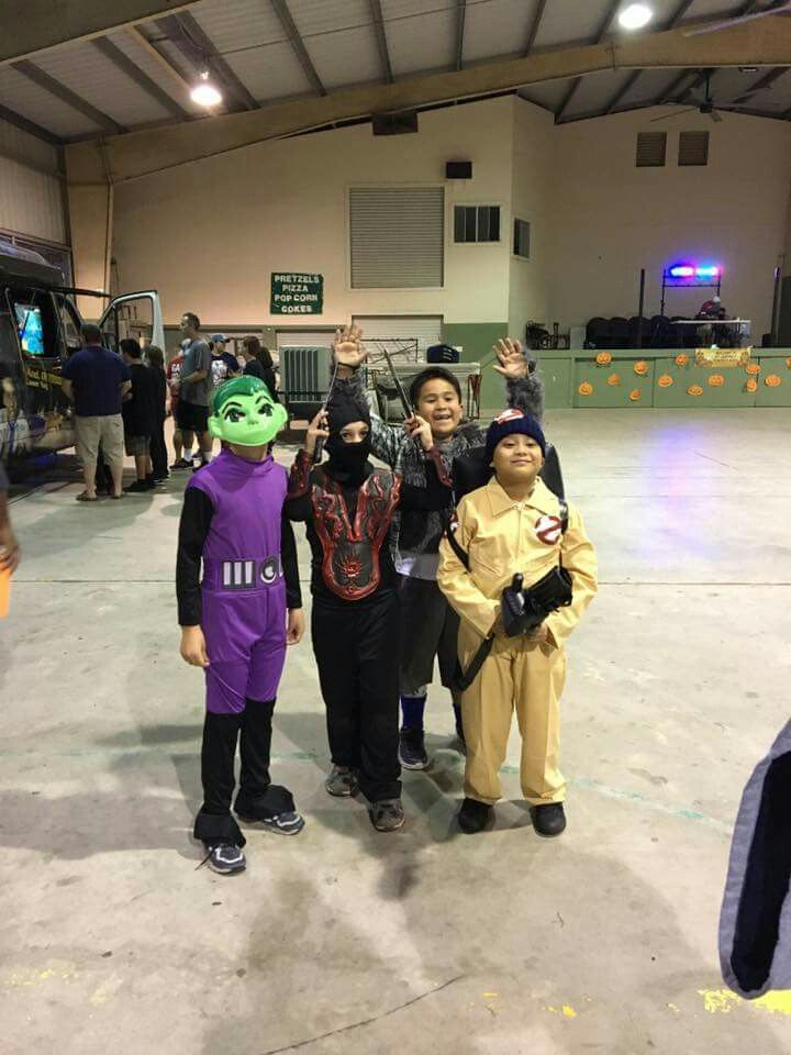 Nephew MG, wearing his Ghostbusters costume and classmates at their school's (St. Jerome Catholic School) Pumpkin Bash 2016