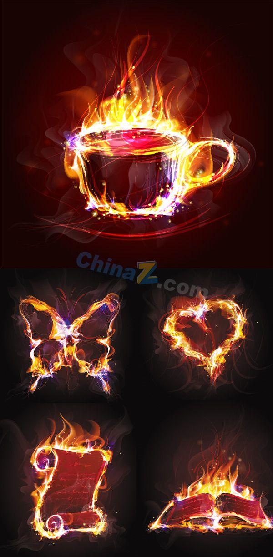 Blazing flames vector material download   Vector concept