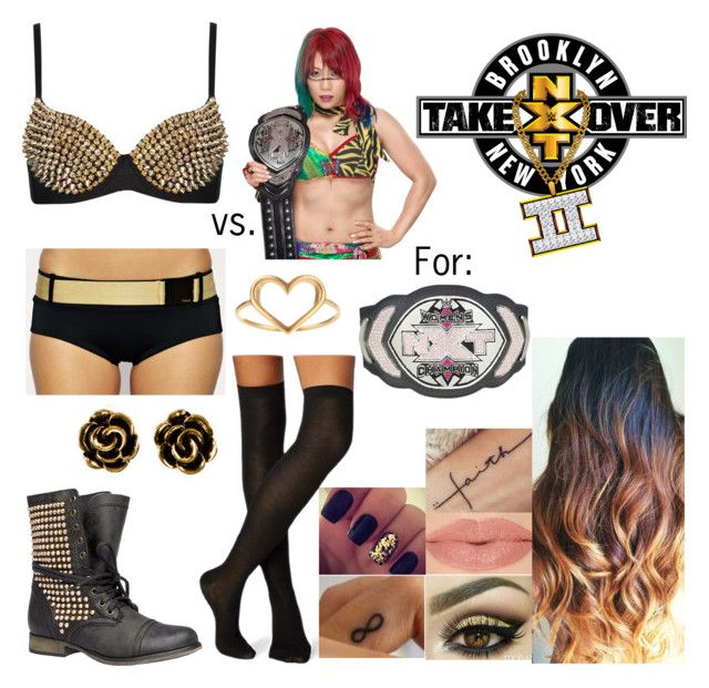 """NXT TakeOver Back To Brooklyn - NXT Women's Championship Match: Jade vs. Asuka"" by godslastgift ❤ liked on Polyvore featuring Steve Madden, H&M, Dogeared and Freya"