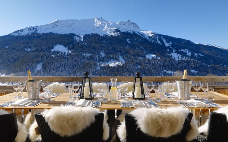 Chesa Falcun, Klosters, Switzerland. Dinner time ... With spectacular view