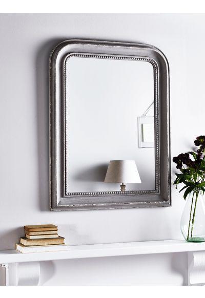 NEW Distressed Grey Beaded Edge Mirror - Indoor Living