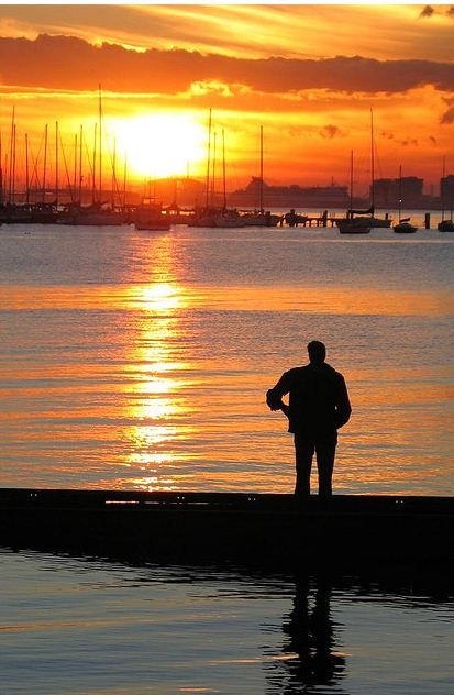 Sunset St. Kilda Beach Melbourne Victoria Australia by rohanew