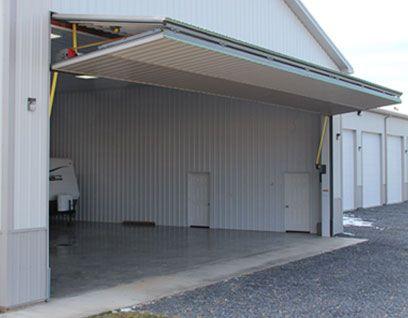 Schweiss Door opens shed for RV