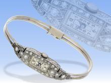Watch: Art Deco Spangenuhr platinum / gold with brilliant-cut diamonds