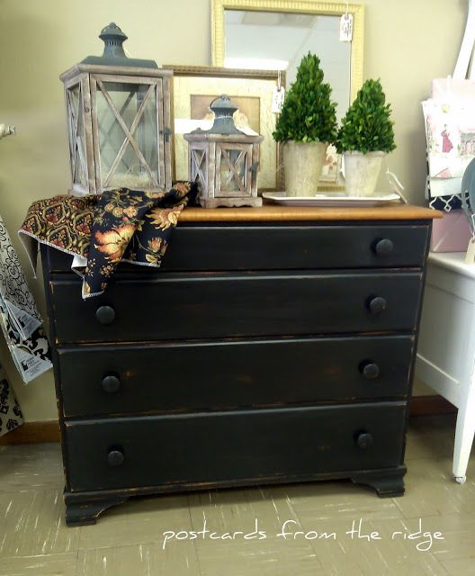 Postcards from the Ridge: Solid maple black painted dresser